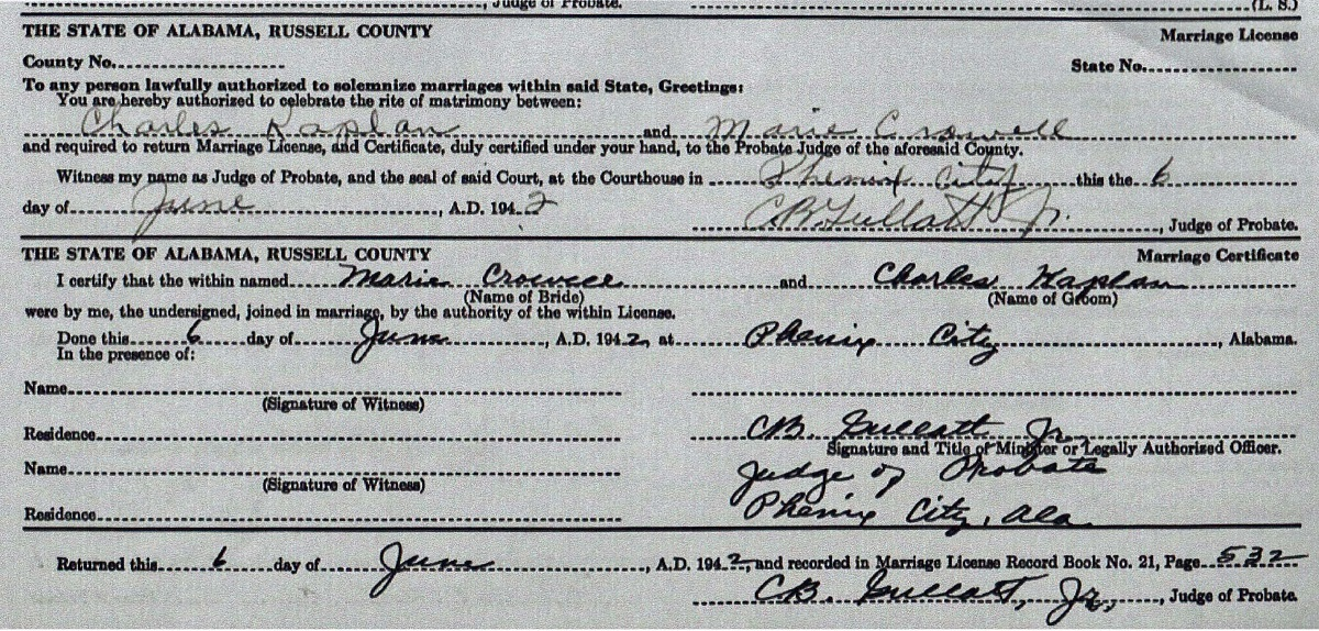 Certificate of Marriage for Charles Kaplan and Barbara Crowell