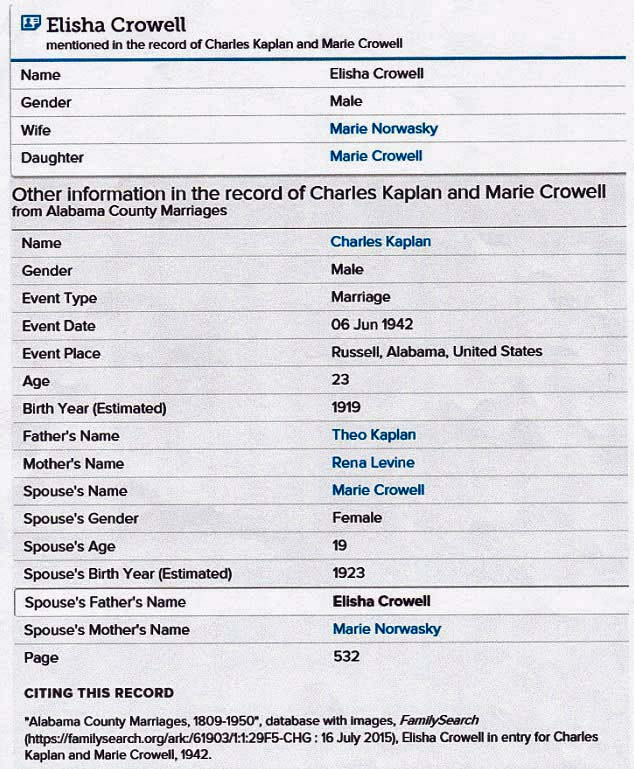 Record of Marriage of Charles Kaplan and Barbara Crowell