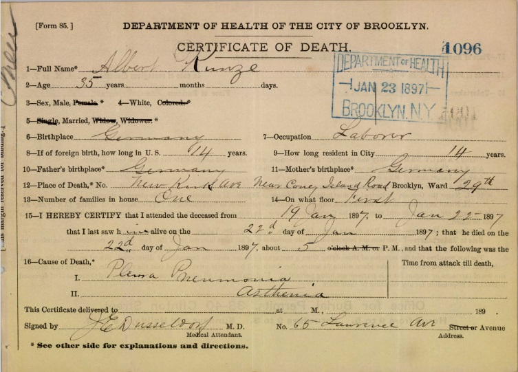 Albert Kuntze Sr's Certificate of Death