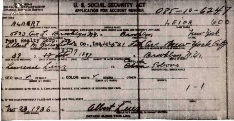 Albert Leier's Application for Social Security Number