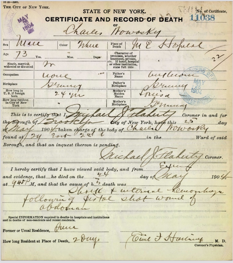 Charles Nowasky Sr's Certificate and Record of Death