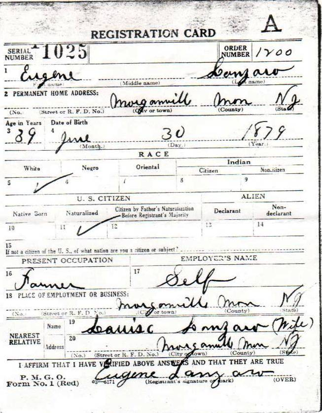 Ciro (Eugene) Lanzaro's World War I Draft Registration Card