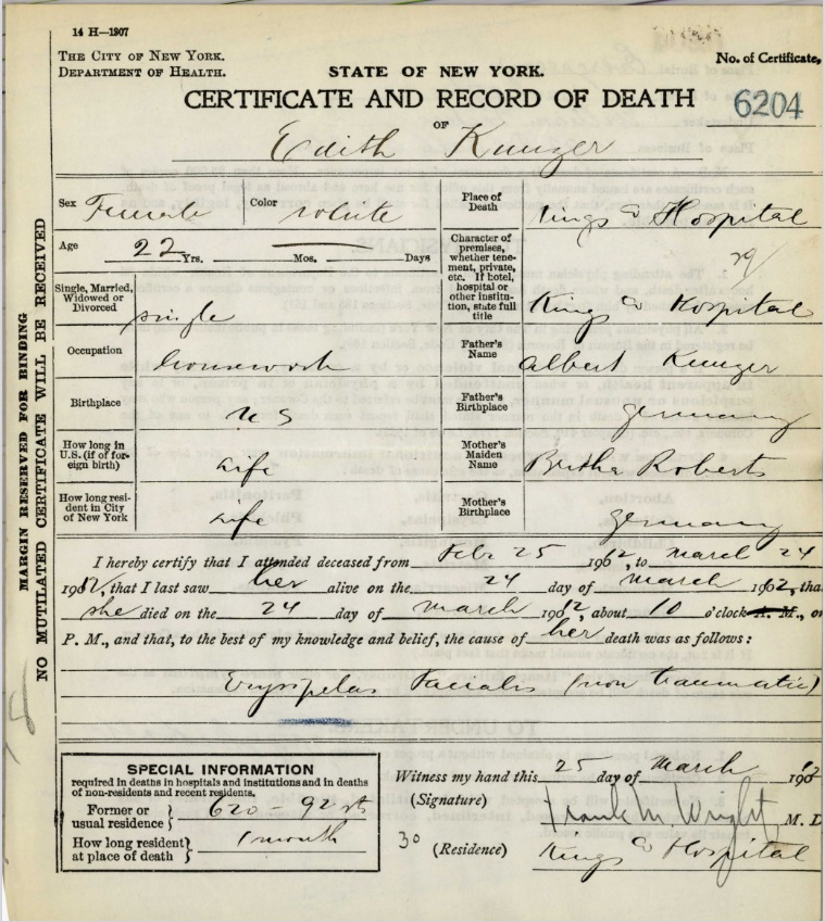 Ada (Edith) Kuntze's Certificate and Record of Death