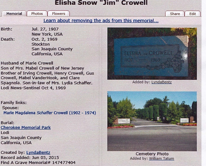 The Cherokee Memorial Park Grave of Elisha Snow Crowell