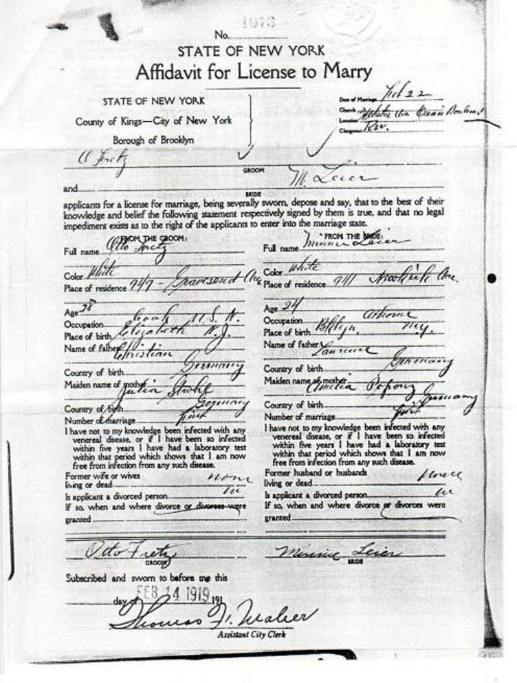 Affadavit for License to Marry for Otto Fretz and Minnie Leier