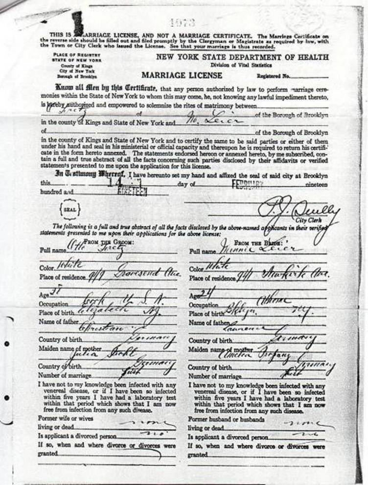 Marriage License for Otto Fretz and Minnie Leier