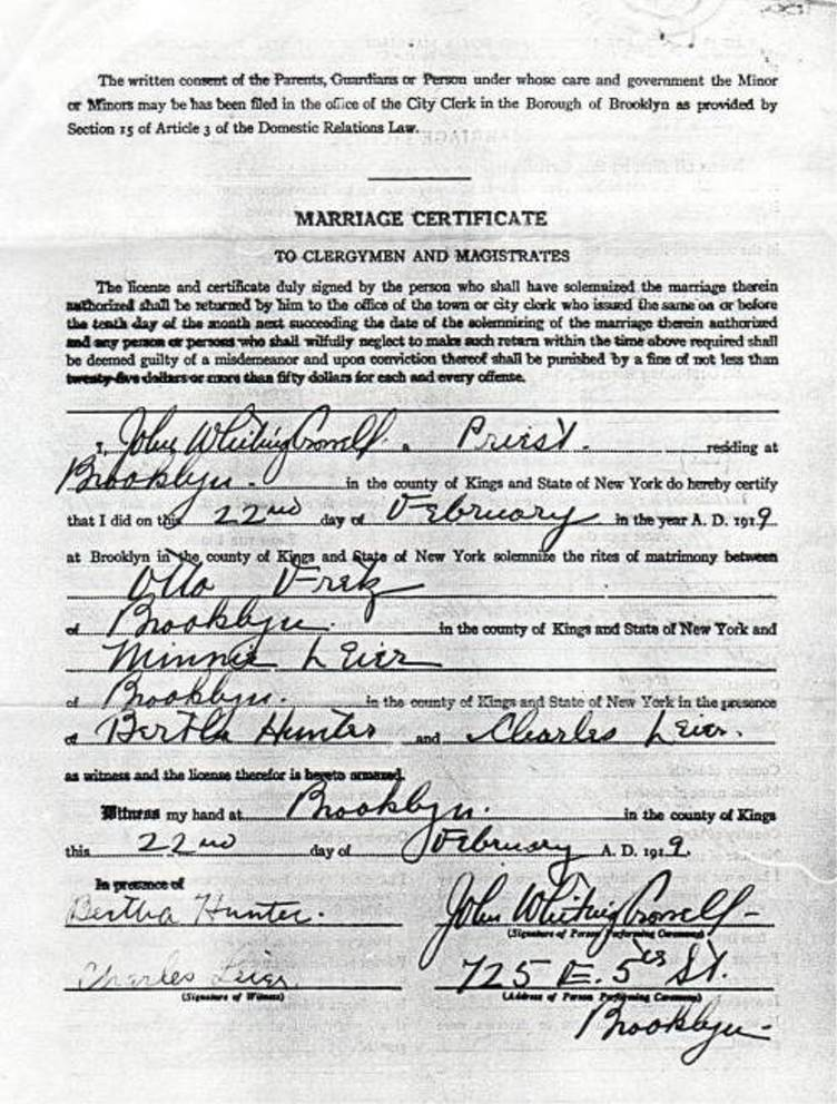 Marriage Certificate for Otto Fretz and Minnie Leier