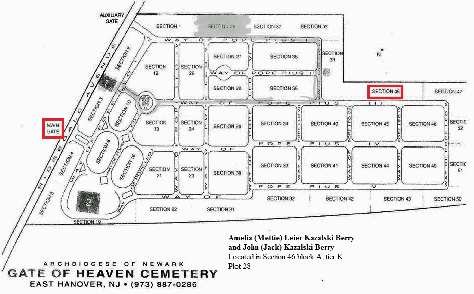 The Gate of Heaven Cemetery Map