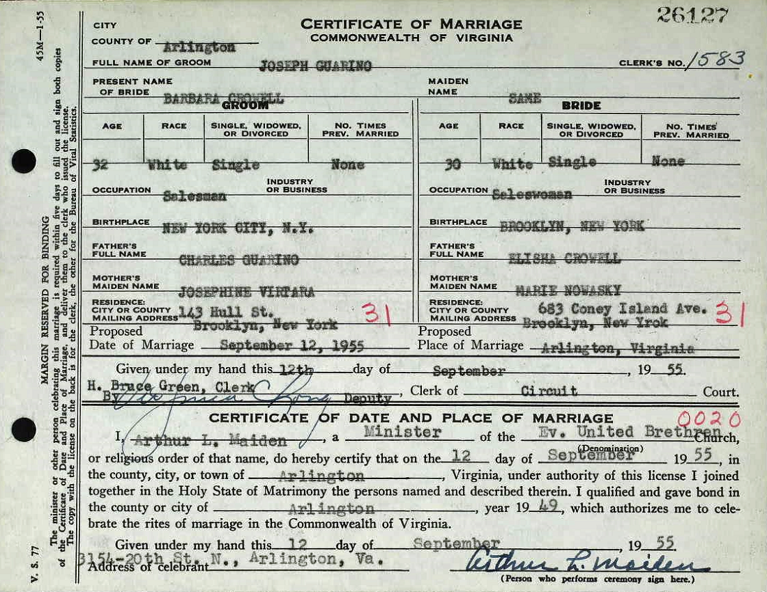 Certificate of Marriage for Joseph Guarino and Barbara Crowell