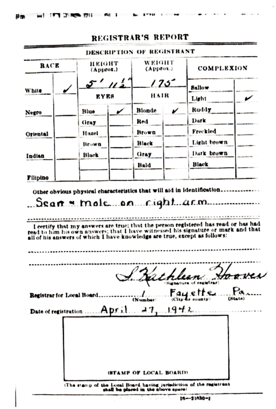 John Berry's World War II Draft Registration Card