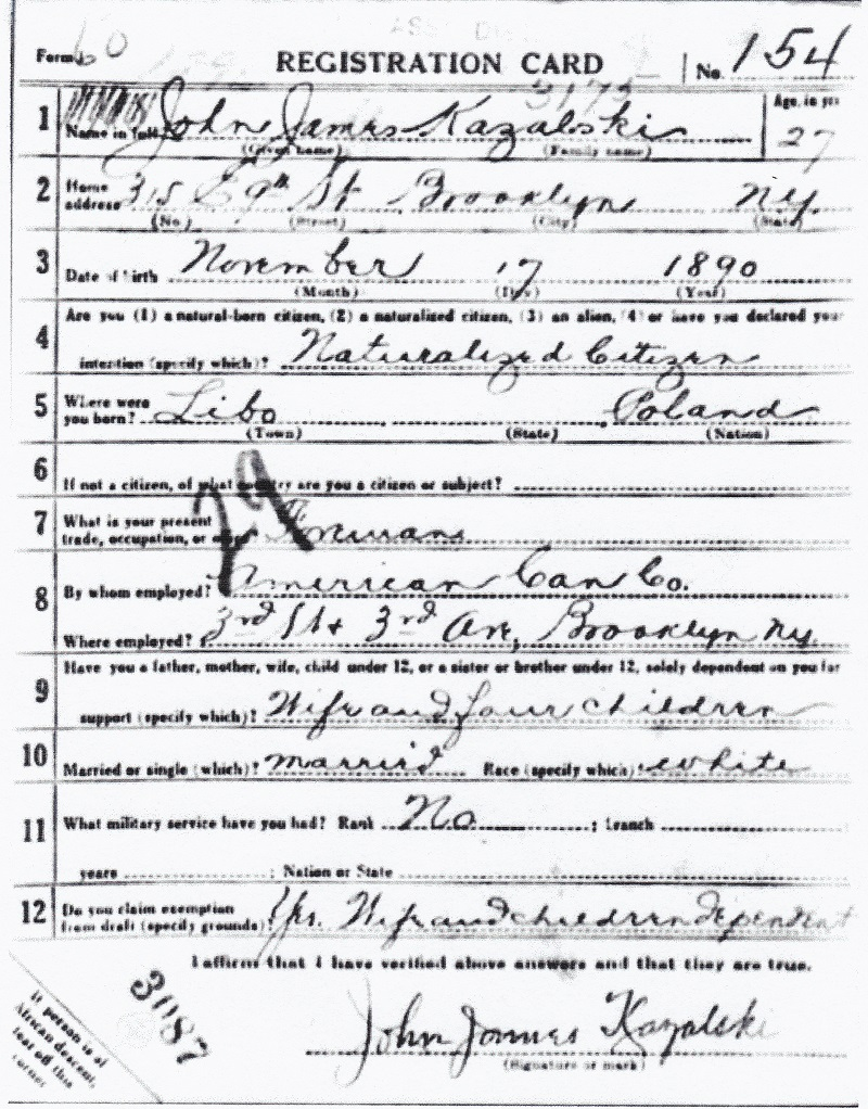 John J. Kazalski's World War I Draft Registration Card