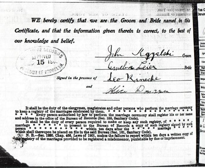 Certificate and Record of Marriage for John Kazalski, Jr. and Amelia Leier