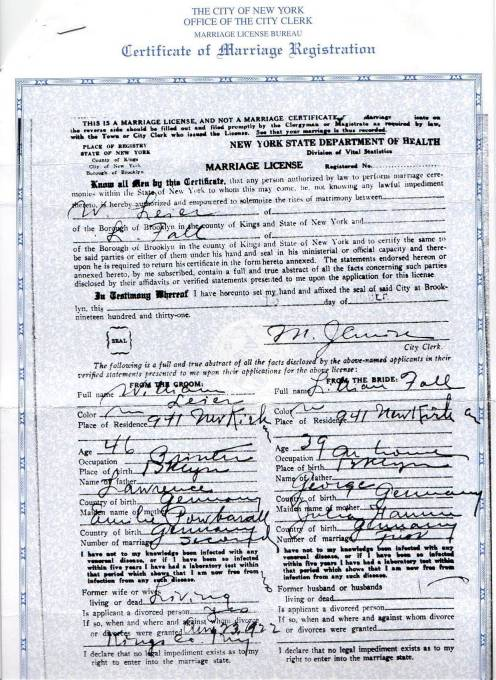 Certificate of Marriage Registration for William Leier and Lillian Fall