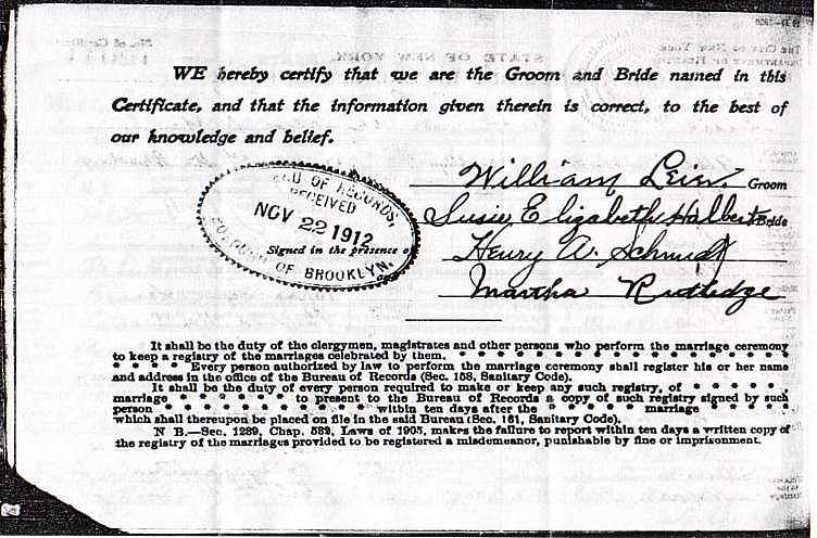 Certificate and Record of Marriage for William Leier and Susan Halbert