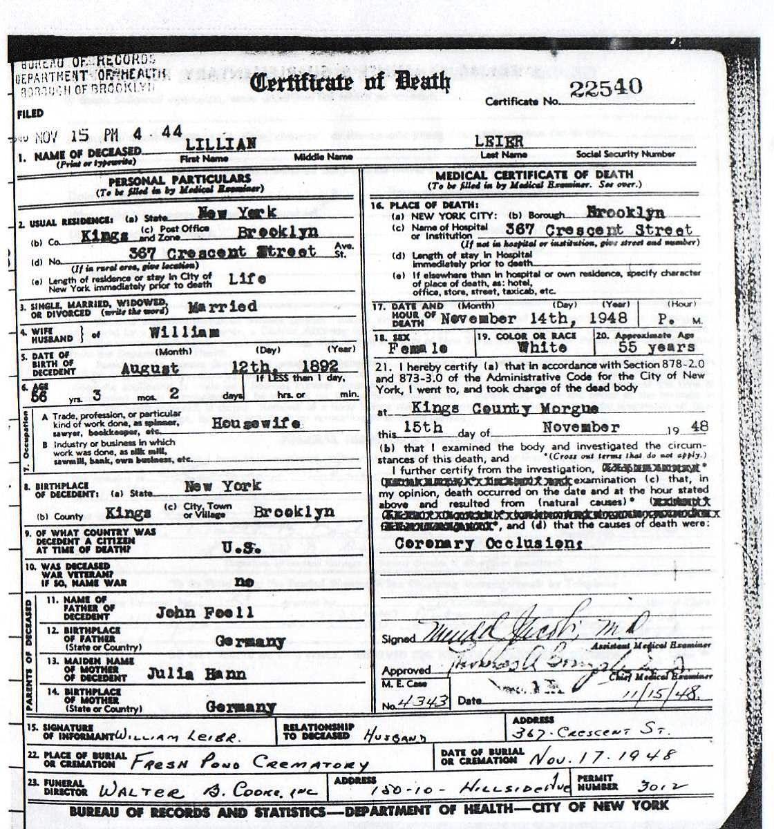 Lillian Fall Leier's Certificate of Death