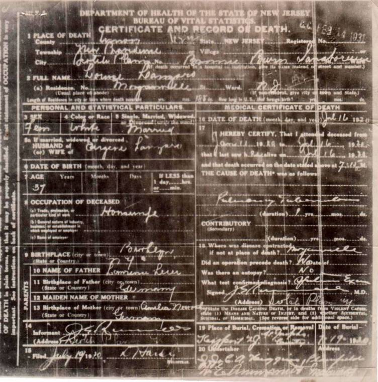 Louisa Leier Lanzaro's Certificate and Record of Death