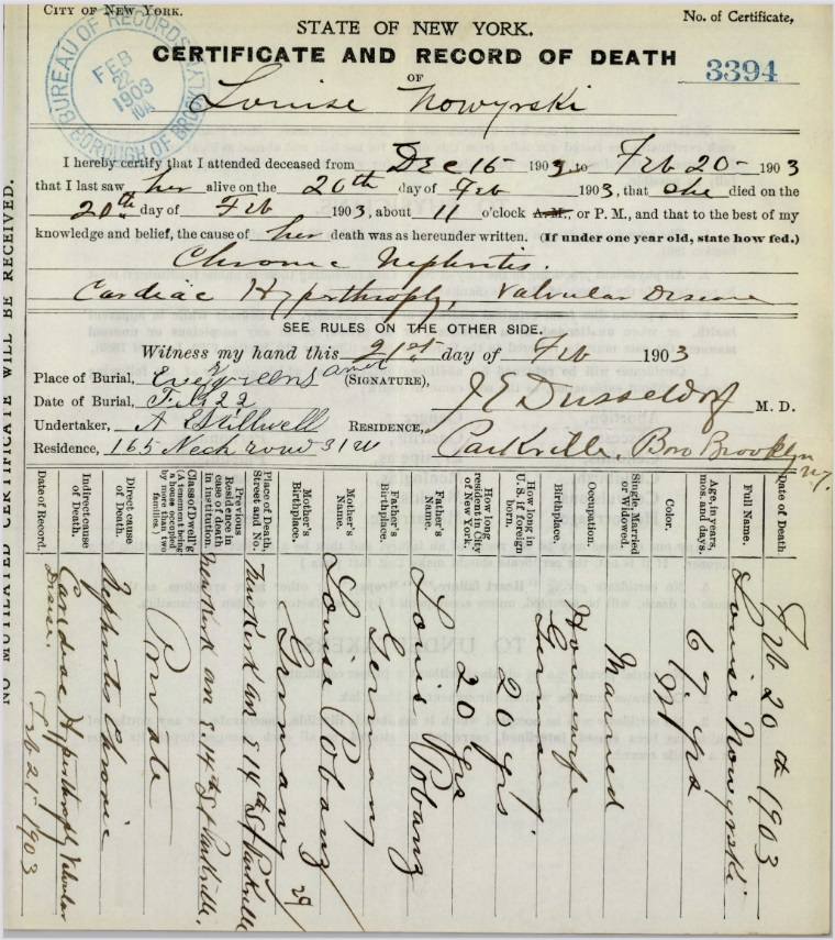 Louise Pubanz Nowasky's Certificate and Record of Death