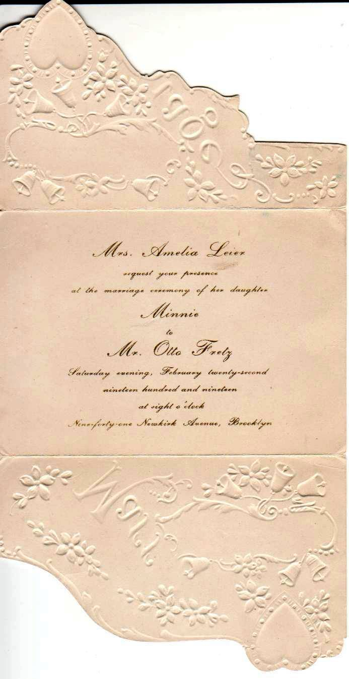 Minnie Leier's Wedding Invitation