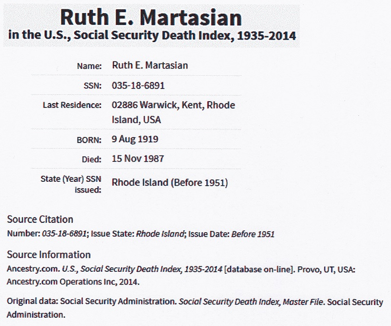 Ruth E. Hunter Martasian SSDI