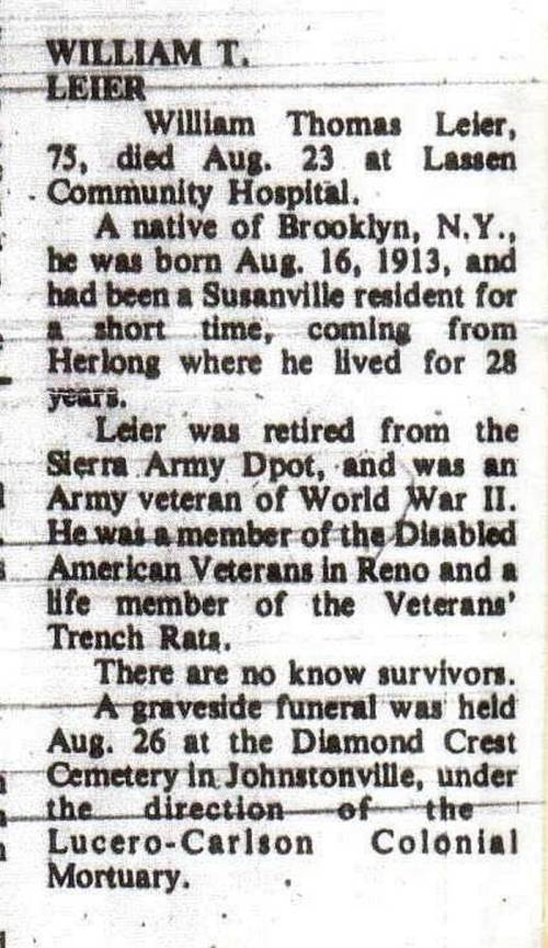 William Thomas Leier's Obituary